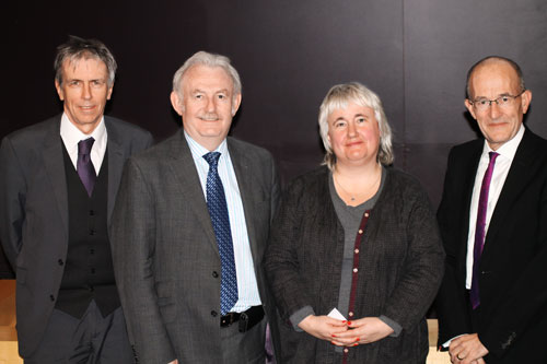 Sarah Spurgeon with Paul Curran and other university officials