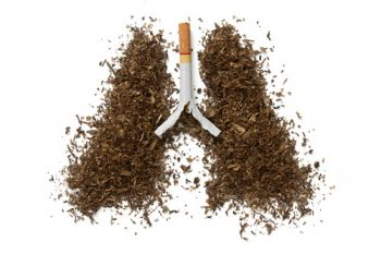 The dangers of smoking - cigarette with lungs made from tobacco