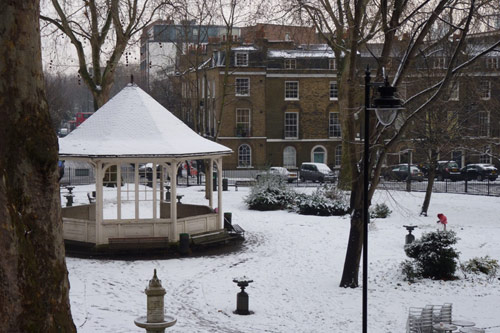 Northampton Square bandstand covered in snow