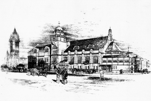 Sketch of College Building from the 1800s