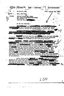 Guy Burgess Tape - SAC NY Memo to J Edgar Hoover about Burgess Tape-page 1