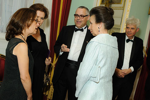 HRH The Princess Royal speaking with guests at the 2016 Chancellor's Dinner