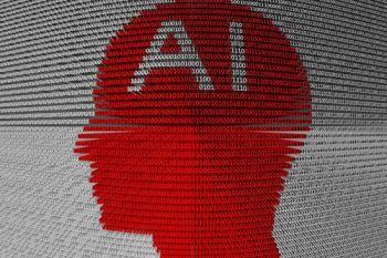 AI on a head made up of binary code