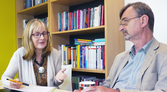Linda Jotham and Neal Sumner taking part in a peer review