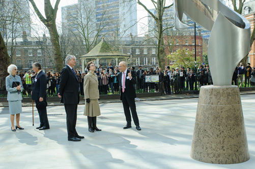 HRH The Princess Royal speaking with President Sir Paul Curran at the opening of the new City, University of London entrance at Northampton Square