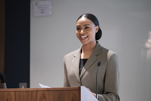Cheriece Hylton, student speaker at the courtroom meeting March 2020