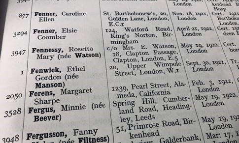 Ethel Fenwick's registration number 1, register of nurses