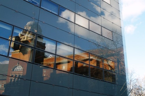 College Building reflected in the Social Sciences Building
