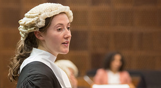 BPTC student in court room wearing barrister's wig