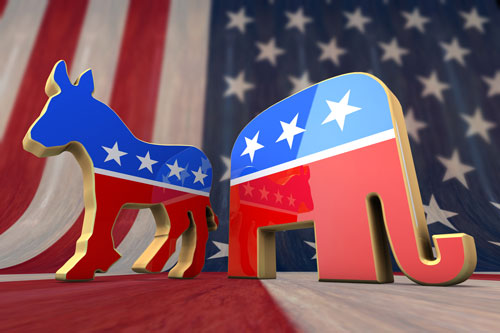 Democrat and Republican Party Symbols with an American