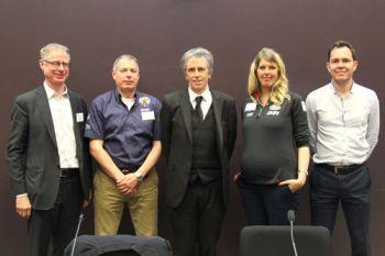 Joseph G. Burns, Mark Chapman, Roger Crouch, Elisabeth McLean and Duncan Bradley after the fringe event at a Clerkenwell design week fringe event