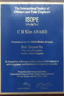 Award certificate for Professor Qingwei Ma for outstanding achievement as part of the International Society of Offshore and Polar Engineers (ISOPE)