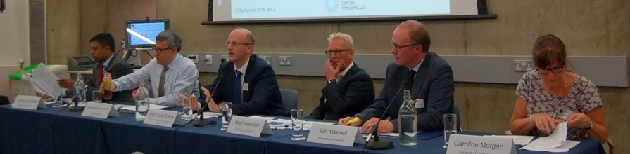 David Collins, Sir Daniel Bethlehem, Kjetil Johansen, Iain Maxwell, Caroline Morgan and Thomas Sebastian at the Trade and Investment post Brexit forum