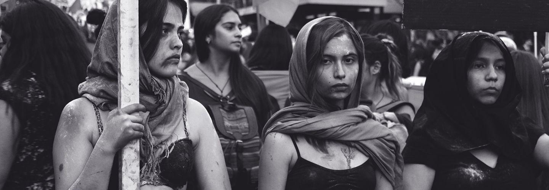 Three women protesting