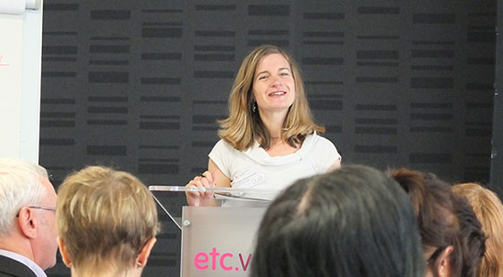 A female speaker addressing an audience at a LEaD event