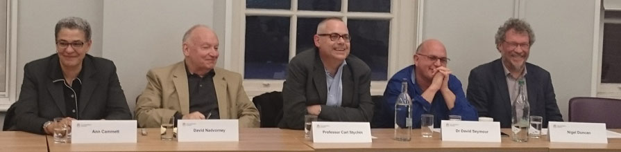 CUNY professors at the Transatlantic perspectives event. Left to right: Ann Cammett, David Nadvorney, Carl Stychin, David Seymour, Nigel Duncan