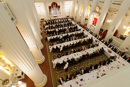 Top down view of the tables and guests