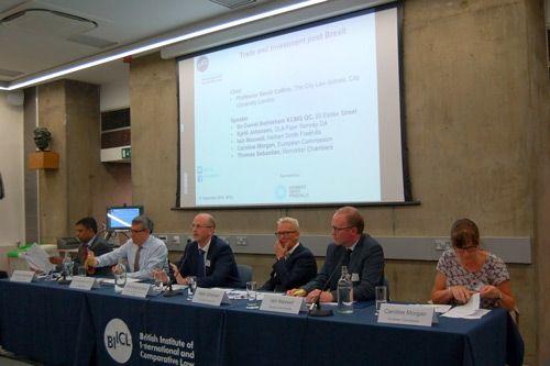 David Collins, Sir Daniel Bethlehem, Kjetil Johansen, Iain Maxwell, Caroline Morgan and Thomas Sebastian at the Trade and Investment post Brexit forum