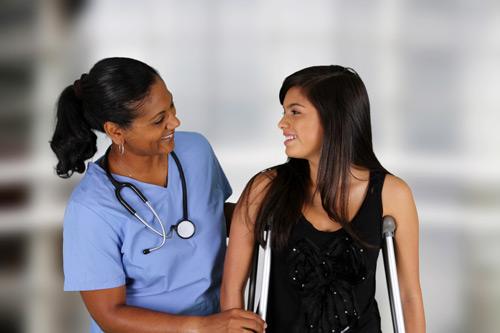 Nurse and patient. Trauma