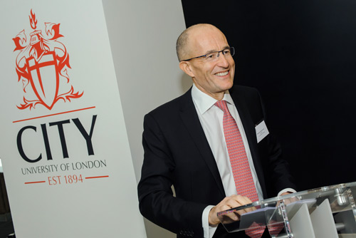 President Sir Paul Curran at the opening of the new City, University of London entrance at Northampton Square