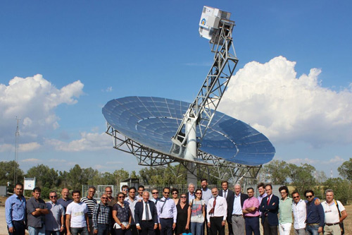 Comimttee for micro turbine solar dish led by Prof Naser Sayma standing in front of dish