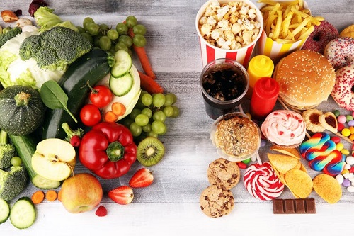 Shutterstock image of health food on the left and unhealthy junk food on the right