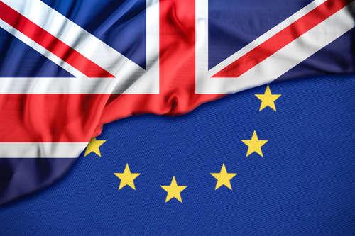 Flag divided diagonally, one half Union Jack, the other half the EU flag.