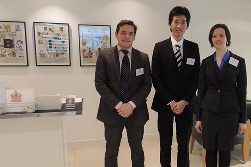 Mathias Cheung, Emma Park and Douglas James, studying on The City Law School's Bar Professional Training Course (BPTC) win the prize for Best University/Law School team