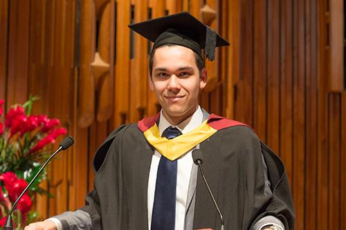 Alumnus Alex Flather on graduation day