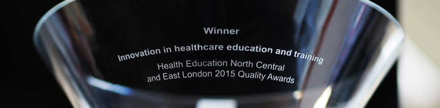 Glass trophy for winner in innovation in healthcare education and training at the Health Education North Central and East London 2015 Quality Awards