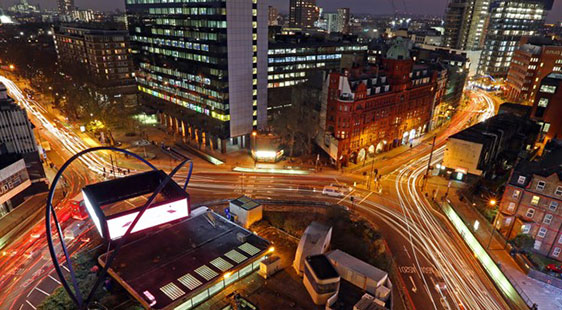 Looking down on Old Street roundabout at night