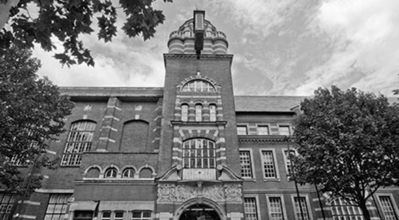College building black and whit