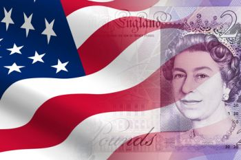 US flag and English bank note. UK US trade.