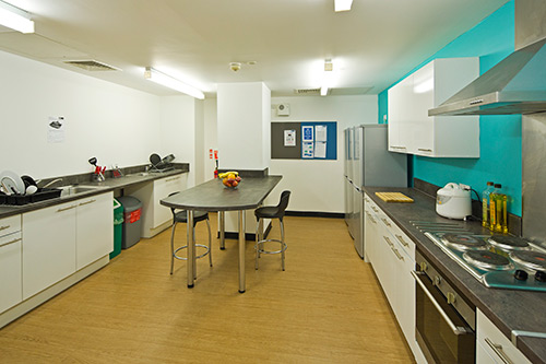 Communal Kitchen. View of the long kitchen with a bar, fridges, electric hob and oven.