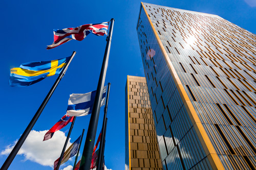 British flag outside the two towers of the European Court of Justice. Religious dress, Sara Silvestri