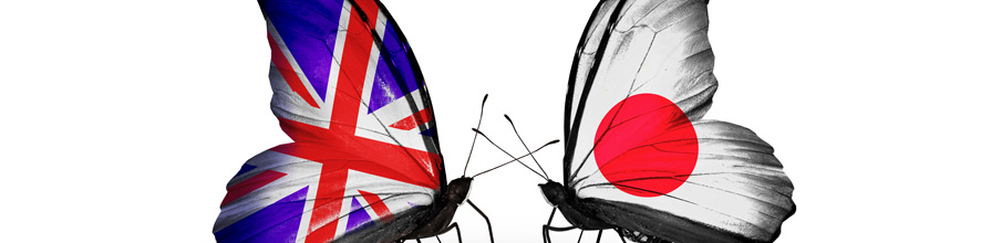 Two butterflies with flags on wings as symbol of relations UK and Japan.