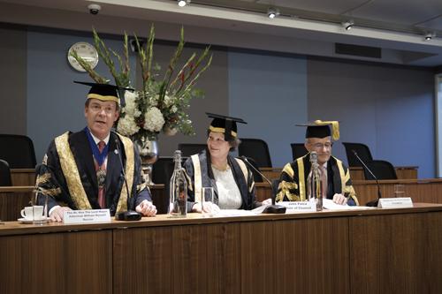 Speaker panel: Lord Mayor William Russell, Ms Julia Palca and Professor Sir Paul Curran.