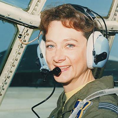 Julie Gibson wearing aviation headset