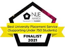NUE Awards - Best university placement service supporting under 750 students, Finalist 2021.